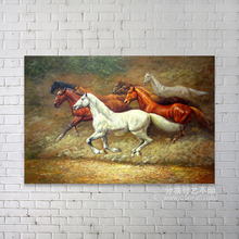 Chinese handsmade realistic animal running horses painting