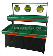 Economical Metal 2-Layer Flooring Green Color Supermarket Fresh Fruit And Vegetable Display Table