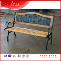 Composite Cast Iron Outdoor Garden Wooden Leisure Bench with back metal legs