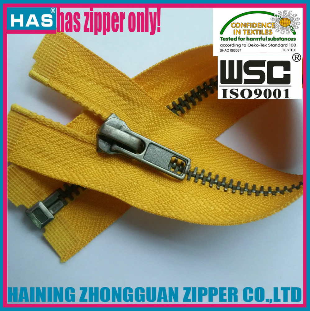 HAS metal zip long large size high quality custom bulk zippers