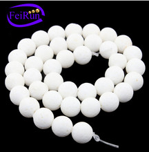 8 10 12 mm loose natural polished white coral strand
