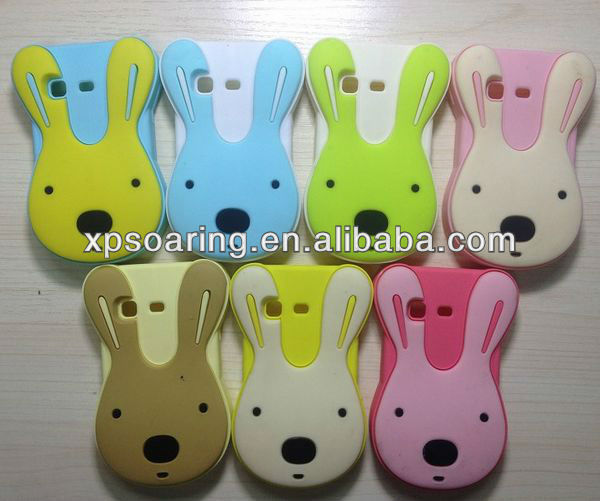 Cute bunny silicone case cover for Samsung Galaxy Pocket S5300