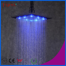 Fyeer 8 Inch Square Hydro Power 3 Color Black Led Rain Shower Head