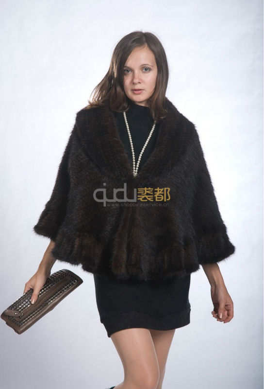 QD10041 High Fashion Coffee Brown Knitting Real Mink Fur Shawl 2014 New Woman Clothes