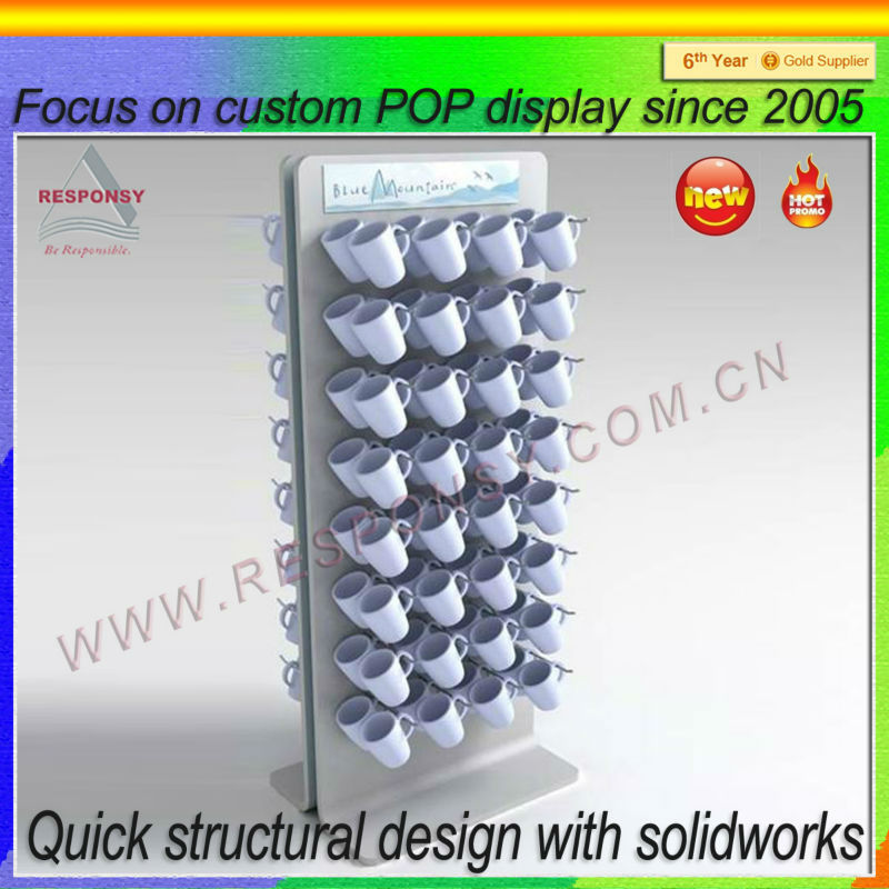 flooring cup rack display/metal cup and saucer display stand