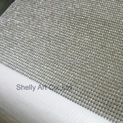 A grade Iron on Rhinestone Mesh Hot fix Rhinestone Sheet Crystal Mesh 3MM SS10 Clear