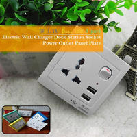 New Product Wall Socket With USB Port Electric Wall Charger Dock Station Socket USB 2.0 Power Outlet Panel Plate