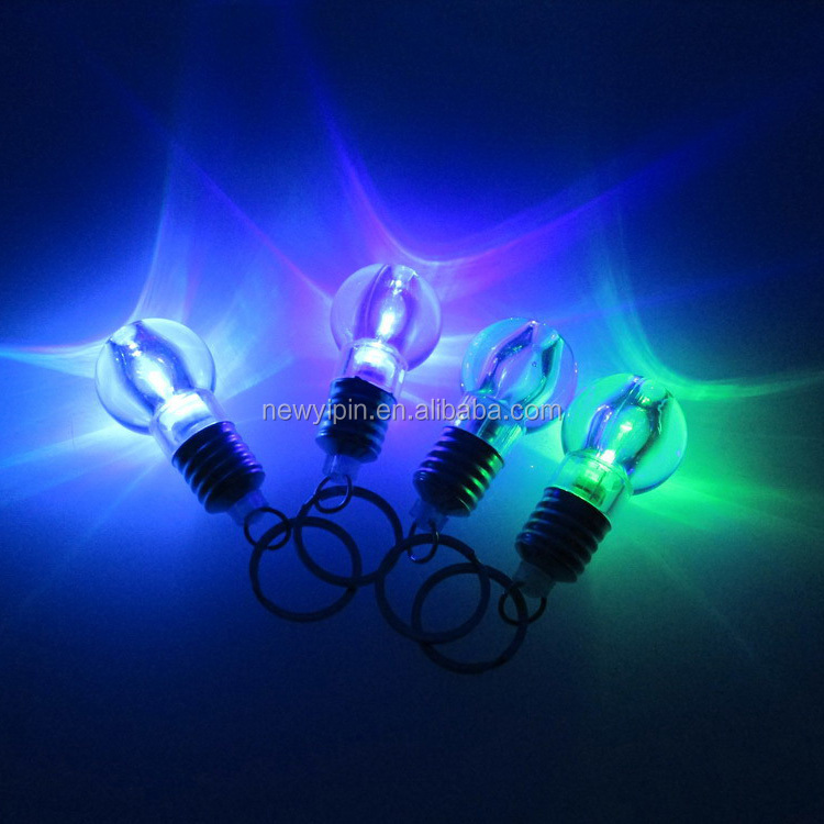 2017 Factory price wholesale Bulb Shape Mini LED Keyring 7 color Light Lamp KeyChain for Christmas Gift