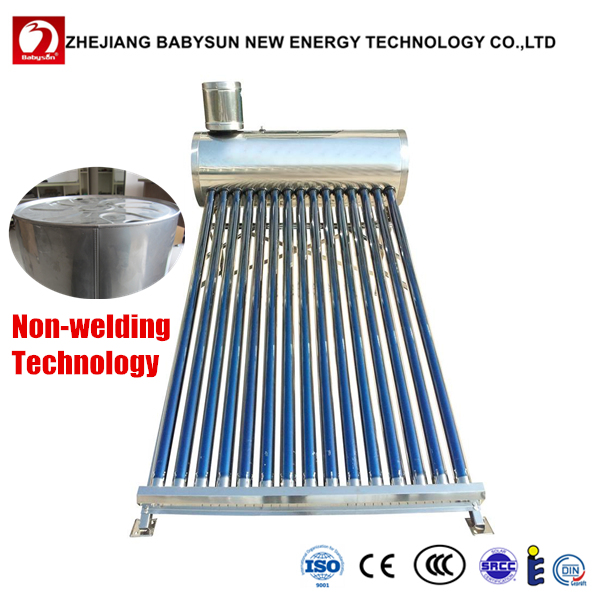 All stainless steel vacuum tube non-pressurized sun power solar water heater