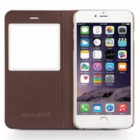 QIALINO Brand With LOGO Cases, Full Grain Genuine Leather Cover Case For iphone 6 Wallet, View Window Flip Case For iPhone 6s