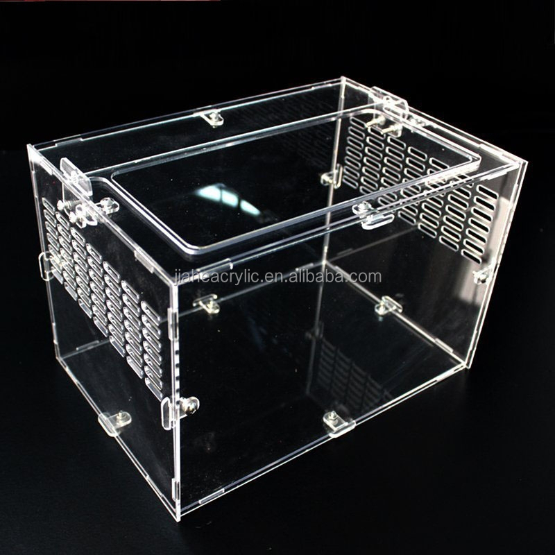 High quality simple square clear acrylic reptile cages unique pet breeding cage for sale