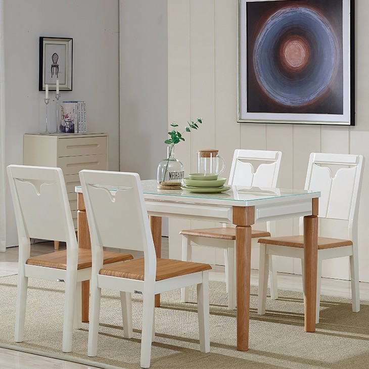 Dinning room set furniture wood leg glass top dining tables.and chairs