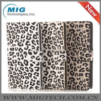 Leopard PU leather wallet case for Samsung galaxy note 4, Phone case For samsung note 4 mobile phone