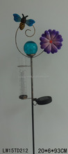 wholeasale Solar Light Metal Honey Bee Flower Wind Spinner Garden Stake With rain gauge