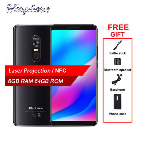 Wholesale Blackview MAX <strong>1</strong> Projector Mobile Phone AMOLED 4680mAh Android 8.<strong>1</strong> Mini Projector Portable Home Theater 6GB+64GB NFC