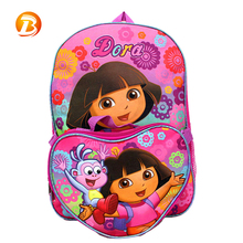 Wholesale Design Dora Pink Color Polyester Girls School Bag With Small Tote Bag