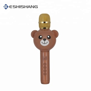 E102 teddy bear kids karaoke microphone toy with voice changer