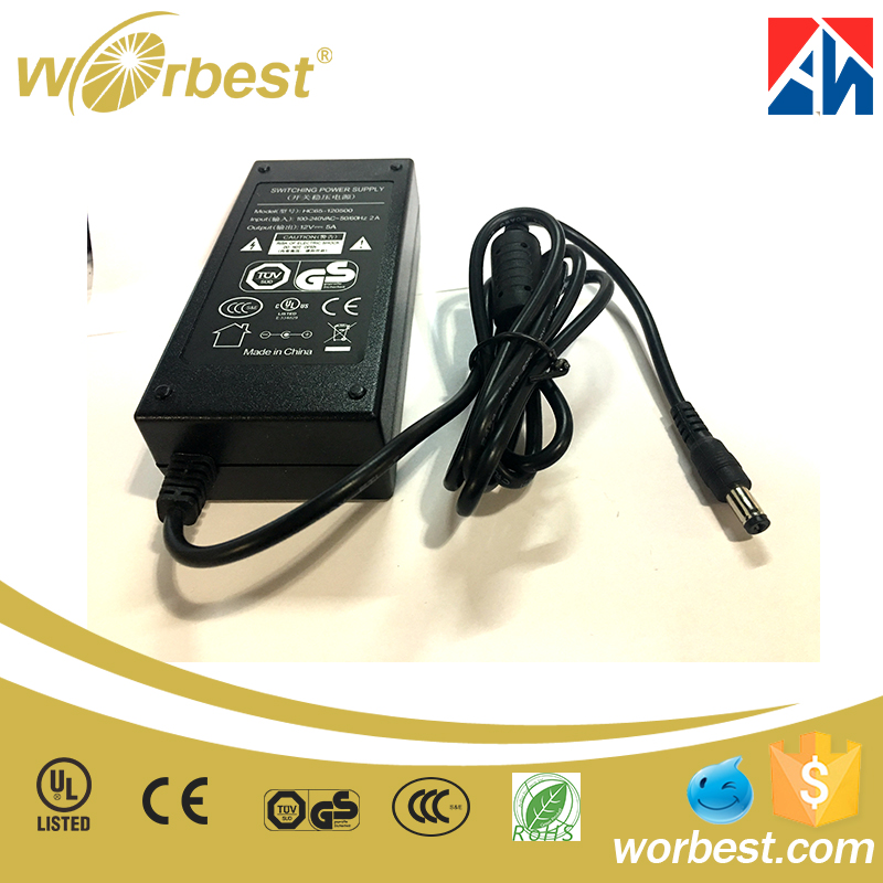 Black desktop 12V 5A 60w AC to DC power adapter for computer laptop