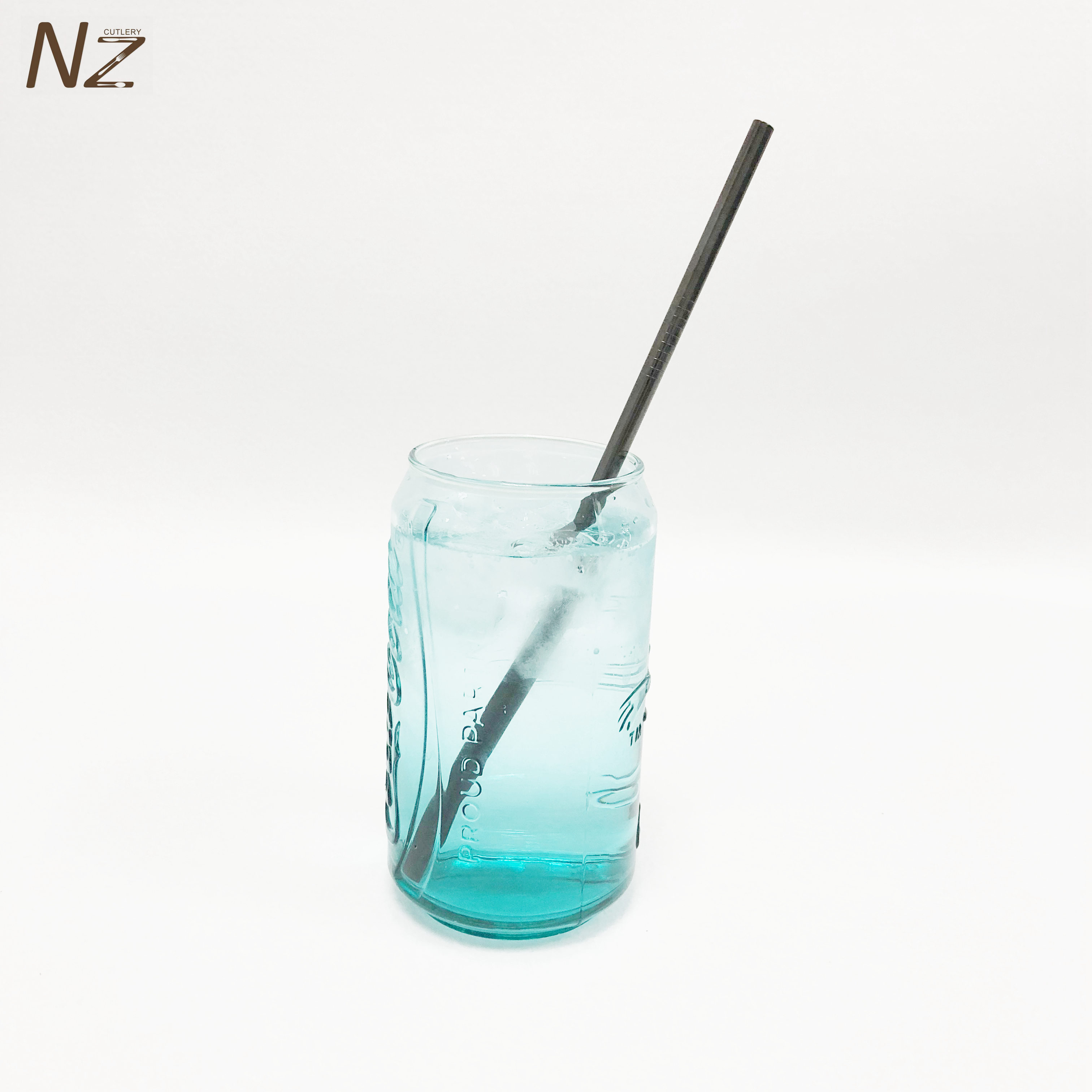 Free sample New Technology 215*6MM 267*6MM Patterned Stainless Steel Metal Smoothie Straw With Cleaning Brush