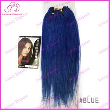 Dark Blue Color Yaki Hair Extensions Brazilian Human Hair Wefts For Sale