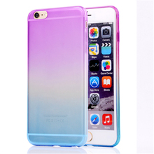 Slim Thin Ultra Lightweight Gradually Changing Color Flexible Anti-slip Transparent TPU Gel Skin Soft Case For Apple iPhone 6/6s