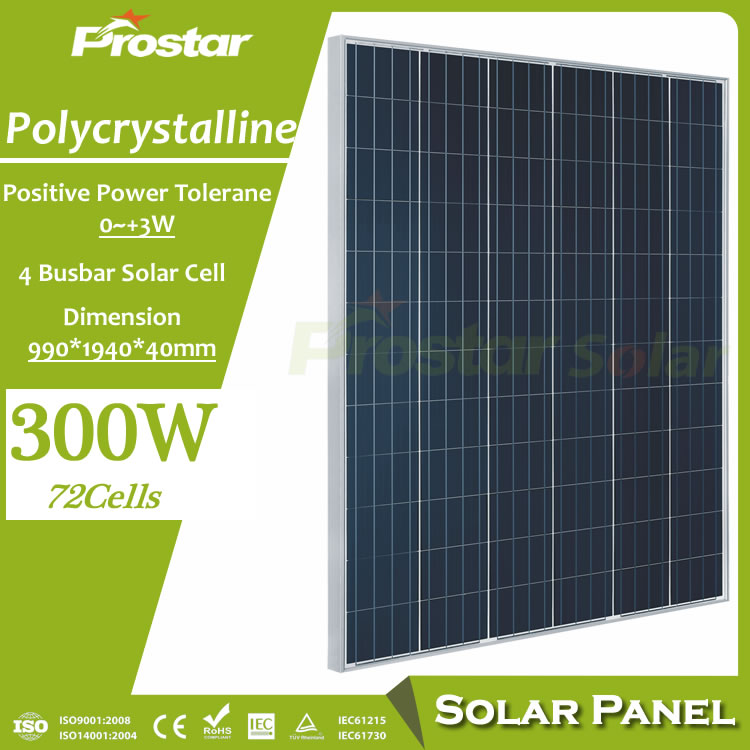 Prostar competitive price best pv solar 300w poly solar panel with TUV CE certificate