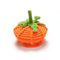 Cute handmade crochet cotton pumpkin pattern baby hat Halloween festival newborn baby winter hats