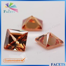 Facets Gems Charming Princess Cut Dark Champagne CZ Stone for Jewelry Making