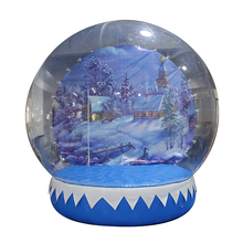 Top quality hot sale giant airblow clear pvc advertising human size 4m christmas inflatable snow globe for sale