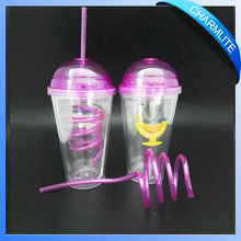 kids hard plastic cups plastic drinking cup with straw straw cups for kids (DC004)