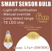 L1u+ ( 5W / 8W ) Ultra Large Detection Range PIR Motion Sensor LED Light Bulb with Light-off notification & Manual override