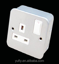 metal clad with white insert 1Gang 13A single pole/double pole electric wall socket switch(WITH BOX )