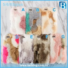 Luxury Rabbit Hair Skin Soft TPU Cell Phone Cases Cover Plush Warm Fur Protective Shell for iPhone 7 Plus