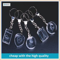 Wholesale price Engraved 3D Blank Laser Crystal/glass LED Keychain For wedding souvenirs