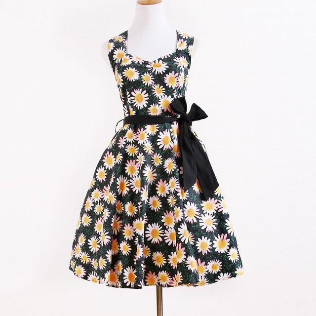 customized vintage retro clothing dropship plus size floral A line dress for women