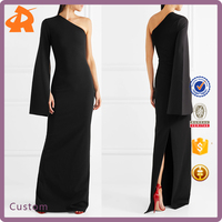 Factory Wholesale Evening Cocktail Dress Women One Shoulder Maxi Chiffon Dress