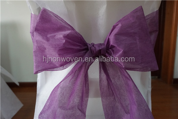violet tissue chair sashes for wedding or party decoration