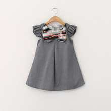 YD2930latest design kid dress cat style fly sleeve baby dress wholesale