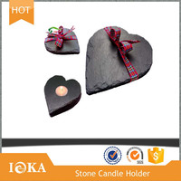 Nature Black Slate Tealight Candle Holder in Heart Shapes