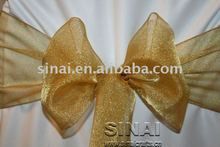 High Quality Organza Chair Sash / Dark Gold Shimmery Organza Sash For Chair Cover