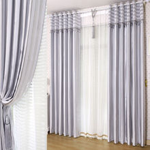 Polyester fabric double layer jacquard curtains drapes with sheer