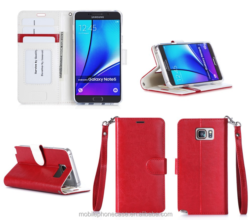 Hot Sale Manufacturing With Strap & Wallet Slots Second Leather Smart Phone Case For Samsung Galaxy Note 5