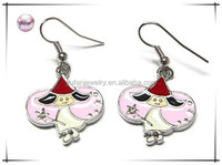 White gold plating crystal enamel halloween fairy earring