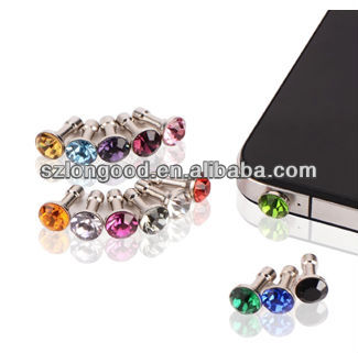 Crystal Diamond 3.5mm Anti Dust Plug Bling Earphone Glitter Rhinestone Headphone Port Stopper Caps For iPhone for samsung