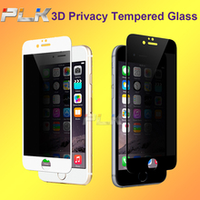 High Qualiy 9H 3D Full Cover Privacy Tempered Glass Screen Protector/Filter For iphone 7 6 Plus