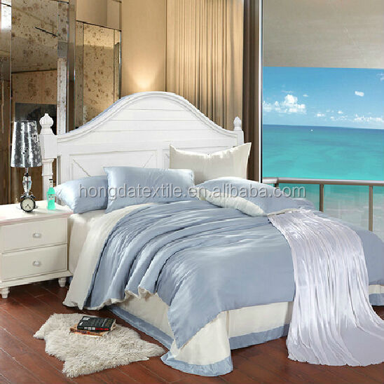 100% luxury wedding bedding set soft silk one
