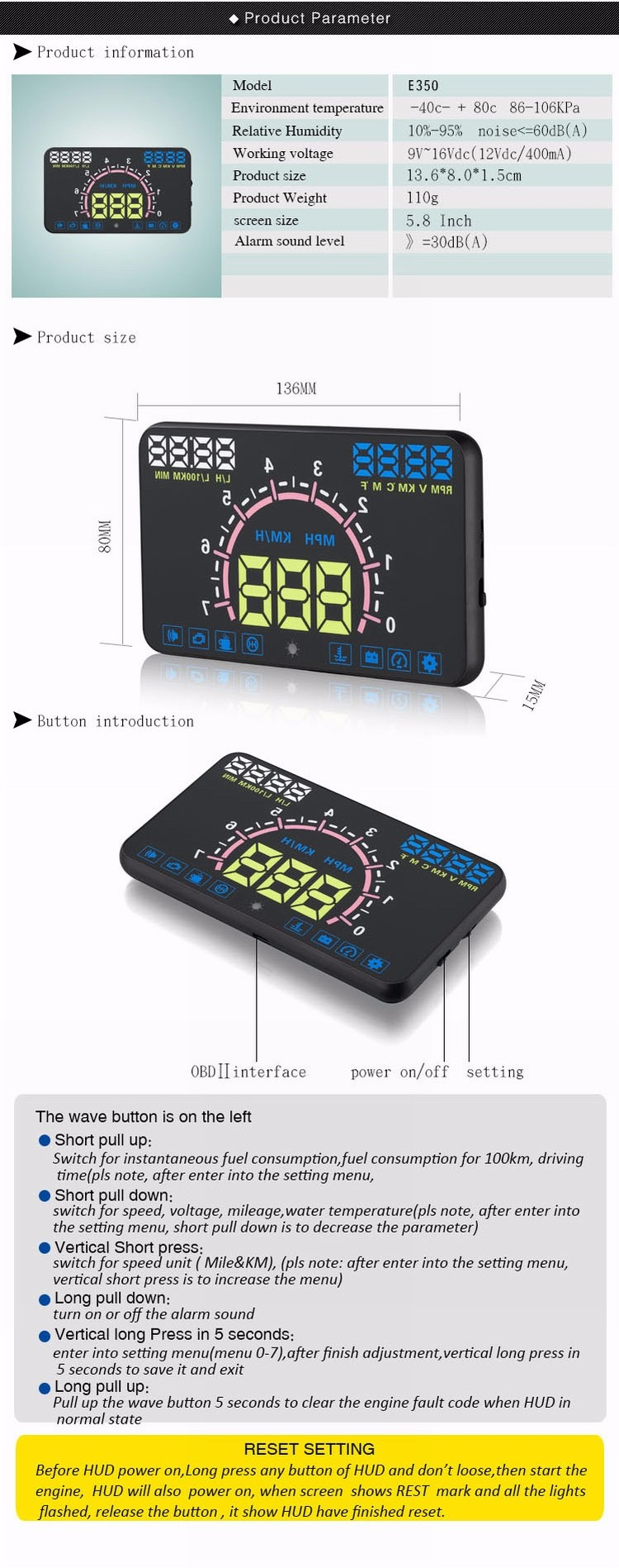 China supplier For Car HUD E350 Head up display With Auto Parts