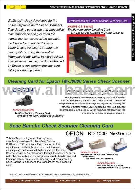 Waffletechnology Cleaning Card for Epson TM-J9000 Series Check Scanner