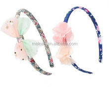 2pcs/lot Girls Hair Accessories Flower Headband Shiny Bow Hairband