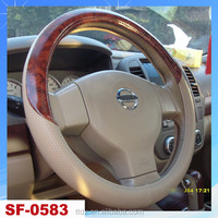 Classic And Durable Leather And Aood Steering Wheel Cover